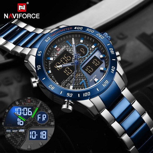 NAVIFORCE Luxury Brand Men Watch Military Digital Sport Wristwatch Mens Steel Strap Waterproof