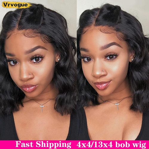 Body Wave Short Bob Wigs Brazilian Human Hair Wigs Pre Plucked Hairline Natural  Black Women Vrvogue