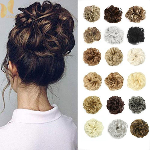 XINRAN Synthetic Bun Extensions Curly Messy Bun Hair Scrunchies Elegant Chignons Wedding Hair Piece for Women and Kids