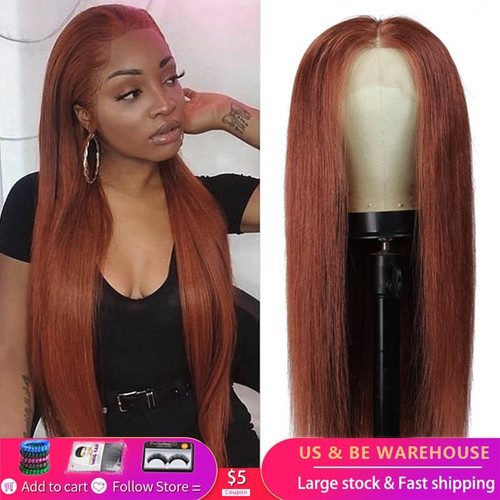 13x4 Lace Front Human Hair Wigs For Black Women 33 Auburn Brown Brazilian Straight Pre Plucked Lace Wigs Remy Hair Wig 150% KEMY