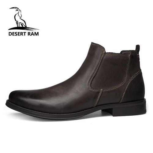 DESERT RAM Brand Men's Boots Genuine Leather Oxford Dress Shoes Male British Chelsea Shoe Mens Winter Business Point Footwear - Joelinks store