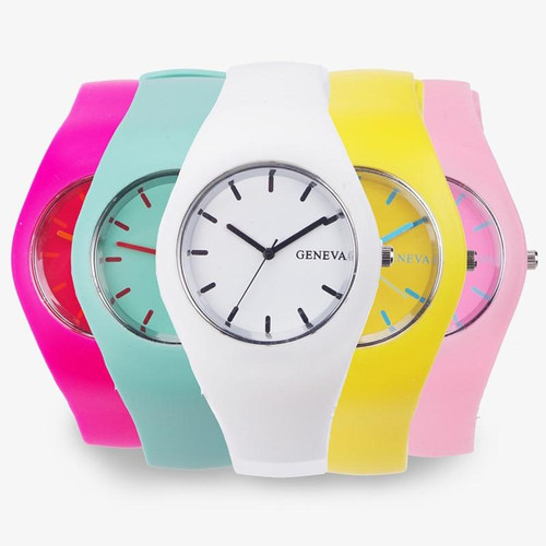 Men watch Women Cream Color Ultra-thin Fashion Gift Silicone Strap Leisure Watch Geneva Sport Wristwatch