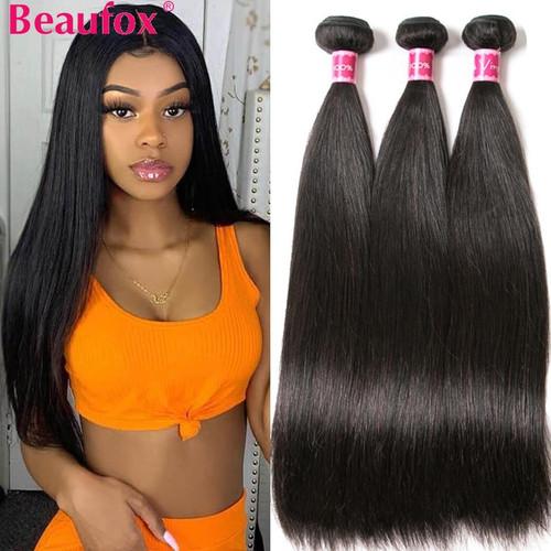 Beaufox Brazilian Straight Hair Human Hair Weave Bundles Extension Natural/Jet Black Remy 1/3/4 Pcs Hair Bundles