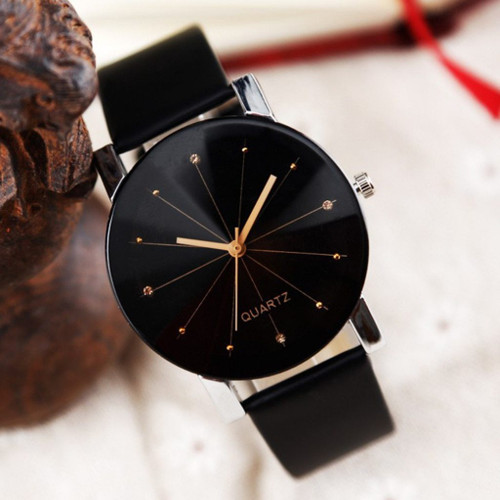 Women Leather Strap Line Analog Quartz Ladies Wrist Watches