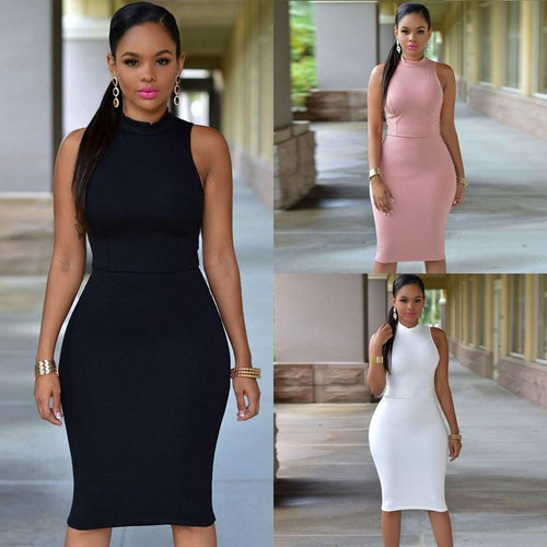 Oufisun Summer Casual Sleeveless Women's Dress  Bodycon Solid Package Hip Dresses