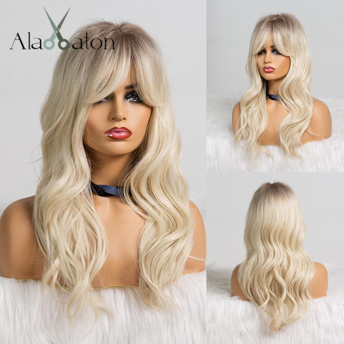 ALAN EATON Long Ombre Black Brown Blonde Wigs with Bangs Heat Resistant Synthetic Wave Wigs for Women African American Cosplay
