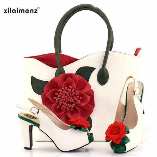 New Shop 40% Discount White Color Newest Italian Design Shoes and Handbag Set with Big Flower for Wedding Shoes Women - Joelinks store