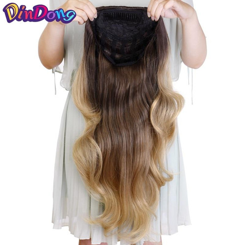DinDong  Ladies Half Wig Hair Synthetic Wigs with Comb on a Mesh Head Cap Clip in Hair Extension