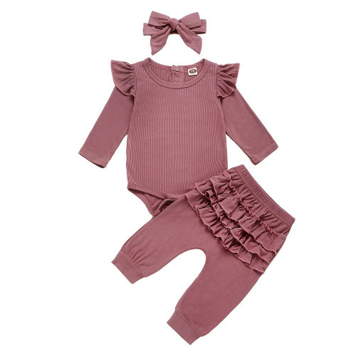 Newborn Infant Baby Girls Ruffle T-Shirt Romper Tops Leggings Pant 3Pcs Outfits
