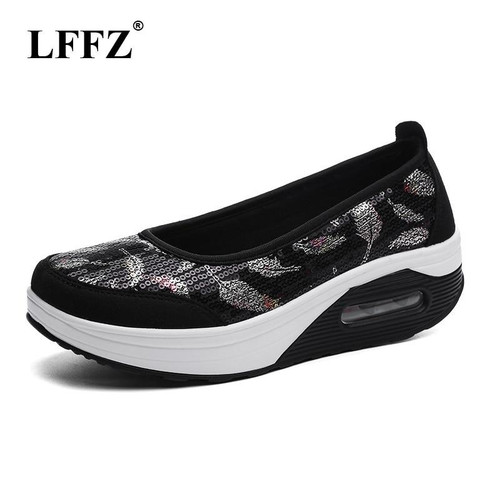 LFFZ 2018 New Spring Summer Sequined Lace Shoes Asakuchi Thick Sole Shoes Lazy Casual Shoes For Women Sneakers Big Size JH116 - Joelinks store