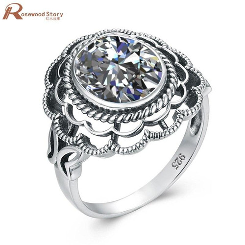 Sterling Silver Women Rings Cute Flower Silver White Gold Color AAA