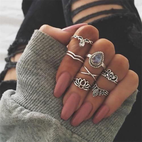 Yobest New Midi Ring Sets Carving Finger Rings for Women Flower Knuckle Ring Set For Women