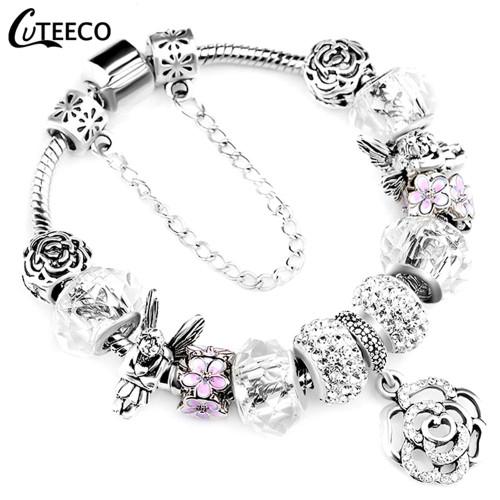 CUTEECO Rose Pendant Tree Of Life Charm Bracelet For Women Unicorn Bead Bracelets & Bangles