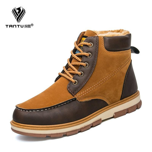 TANTU WInter/Autumn New Fashion Suede Leather Boots Casual Martin Shoes for Male Size 38-46 - Joelinks store
