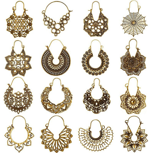 HuaTang Vintage Gold Silver Color Metal Dangle Hollow Earrings for Women Geometric Carved Ethnic Earring Indian Jewellery brinco