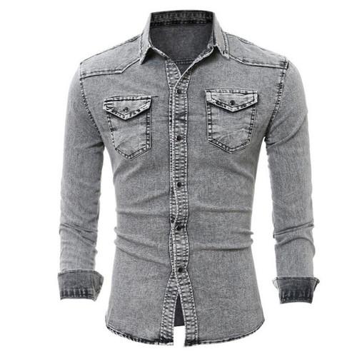 Denim Shirt Men Slim Fit Jeans Shirt Fashion Long Sleeve Cowboy Shirts