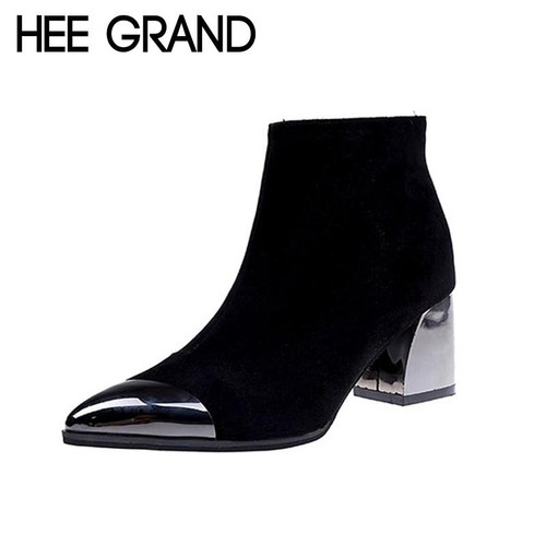 HEE GRAND 2018 New Women Fashion Boots Autumn Shoes with Lace-up Flock Leather Medium High Heel Ankle Boots Mujer Shoes XWX6875 - Joelinks store