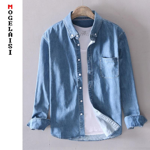 Casual Denim shirt cotton solid long sleeve tops for men