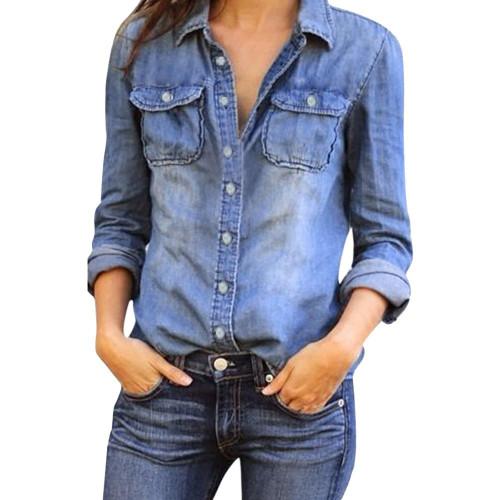 Women Blouse Women Casual Blue Jean Denim Long Sleeve Women