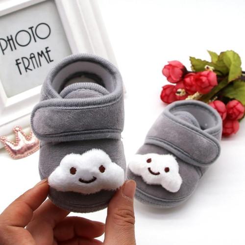 Newborn Cartoon Print Anti-Slip Cotton Plush Shoes Winter Warm Crib Shoes Toddler Soft Soled