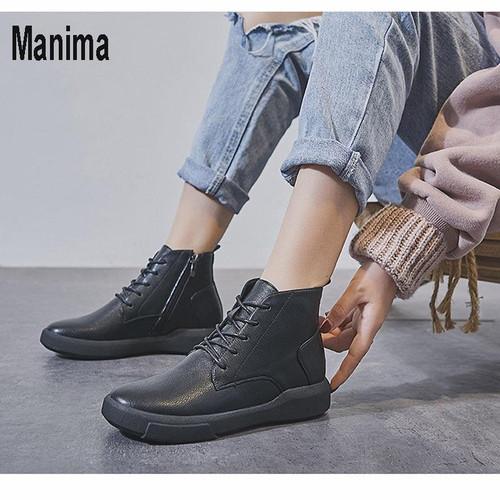 Manima winter women's shoes Martin boots women autumn ankle boots leather plush warm locomotive