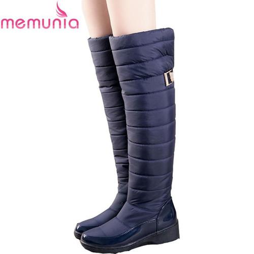 MEMUNIA Russia winter boots women warm knee high boots round toe down fur ladies fashion thigh snow boots shoes waterproof botas - Joelinks store