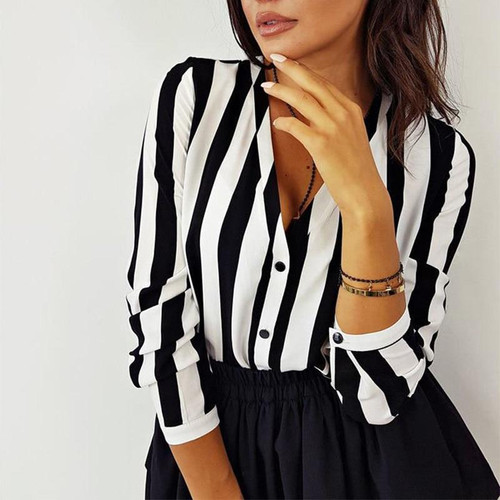 New Blouse Women Casual Striped Top Shirts Blouses Female