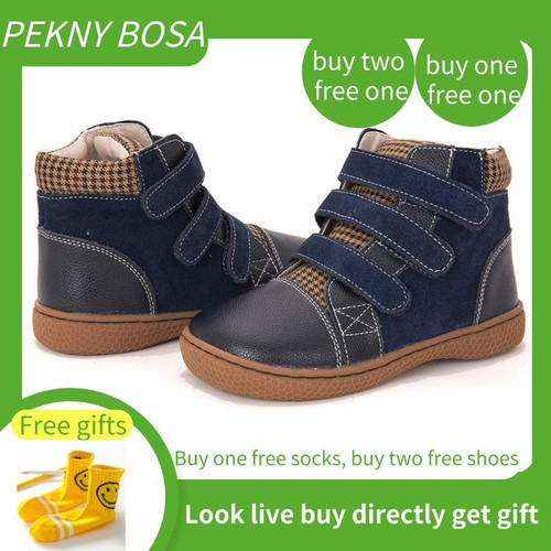 PEKNY BOSA Girls Spring Autumn Martin Boots Leather Kids Orthopedic Shoes