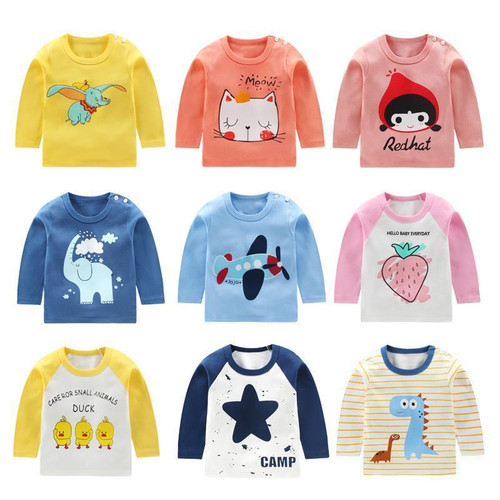 Spring Autumn Baby Shirt Long Sleeve Top T-shirt for Boys and Girls Children
