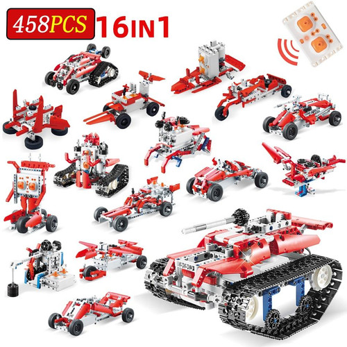 458PCS 16in1 Remote Control Building Blocks Technic Racing Car Bricks Motor Technology RC Robot Enlighten Toys For Children gift
