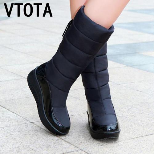 VTOTA  Snow Boots Women Winter Warm Platform Fur Fringe Shoes Wedges Heels Knee High Boots Women Leather Boots Bota Women Shoes - Joelinks store