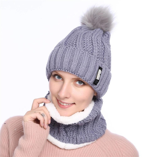 Winter Hat For Women Fashion Solid Warm Hats Knitted Beanies Cap Brand Thick Female Cap Bib