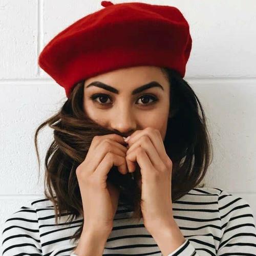 Winter Warm faux Wool Beret Women Girls  red black purple beige orange Kawaii Flat Top caps warmers
