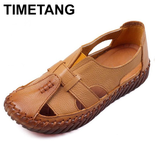 TIMETANG Women's Sandals 2018 Summer Genuine Leather Handmade Ladies Shoe Leather Sandals Women Flats Retro Style Mother Shoes - Joelinks store
