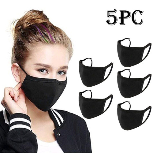Five pcs Cotton Facemask Reusable Anti-dust Black  Face Maskswashable