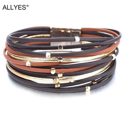 ALLYES Metal Beads Genuine Leather Bracelets For Women