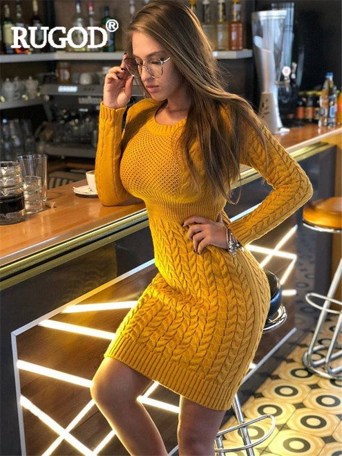 RUGOD New Autumn Winter Sweater Dress Women Knitted Dress  Ladies