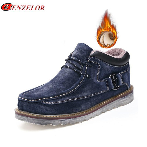 BENZELOR Autumn Winter Genuine Leather Shoes Men Boots Snow Ankle For Man Warm Fur Plush Male Sneakers Booties Work Thick Soled - Joelinks store