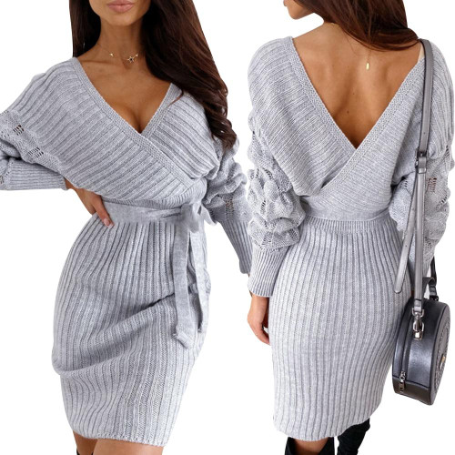 Knitted Warm Sweater Dress Women Vestidos Sexy Bodycon Long Sleeve Ladies
