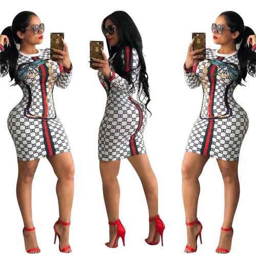 Fashion Printed Long Sleeve Sexy Dress Geometric Ladies Nightclub Party Dress Womens