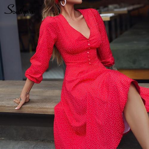 Southpire Sexy Red Long Dress For Women Ladies V-neck A-line Elegant Dress