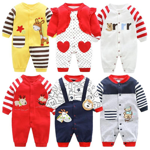 Newborn Unisex jumpsuits  Autumn Long Sleeves Rompers clothes Cotton Boys Girls