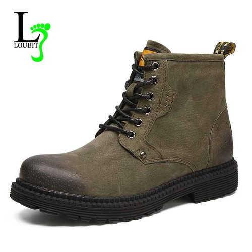 Fashion Boots Men Winter Plus Fur Cow Leather Botas Hombre 2018 Shoes Men Warm Ankle Work Boot Genuine Leather Mens Casual Shoe - Joelinks store