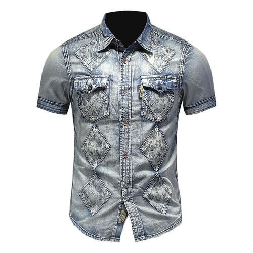 Cute Men's Denim Short Sleeve Shirt Men