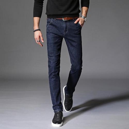 Cute Men's Elastic Dark Denim Jeans Pants