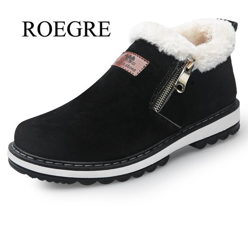 Fashion Black Men's Boots Designer Winter Shoes Men Warm Short Plush Casual Fur Boots Men 2018 New Keep Warm Winter Male Boots - Joelinks store