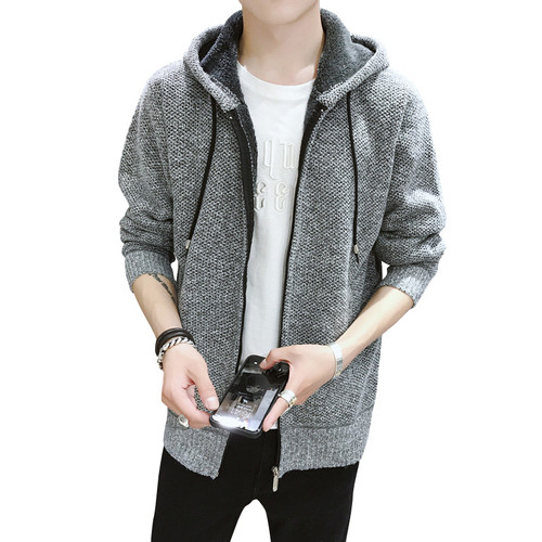 Casual Men's Hooded Thick Warm Coats Solid Men Sweaters