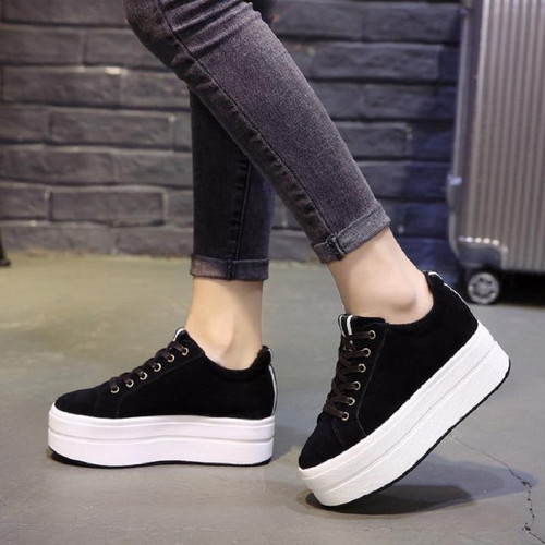 High Heels Ladies Casual Shoes 2018 Spring Fashion  Lace-Up Women's Shoes British Style Women Sneakers Autumn Platform Shoes - Joelinks store