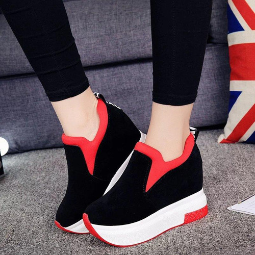 2019 Women Increased Shoes Women Fashion  Platform Loafers Printed Casual  Shoes Woman  Wedges Shoes Breathable Black  Red 35-39 - Joelinks store