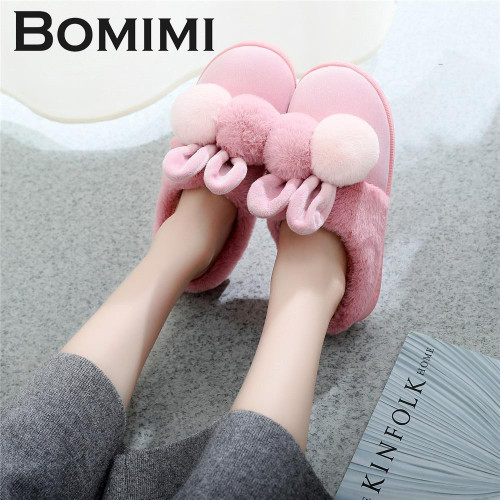 BOMIMI Women Cotton Sheep Lovers Home Slippers Cute Cartoon Ears Slippers Winter Warm Plush Slipper Shoes Indoor Shoes - Joelinks store
